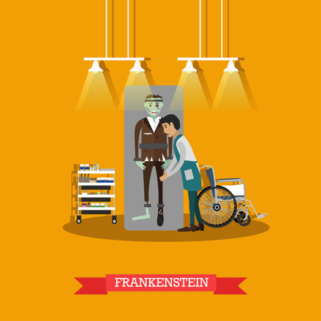 Vector illustration of episode from Frankenstein horror movie based on gothic novel by Mary Shelley. Flat style design element. Stock Photo