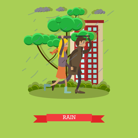 Rainy weather concept vector illustration in flat style Illustration