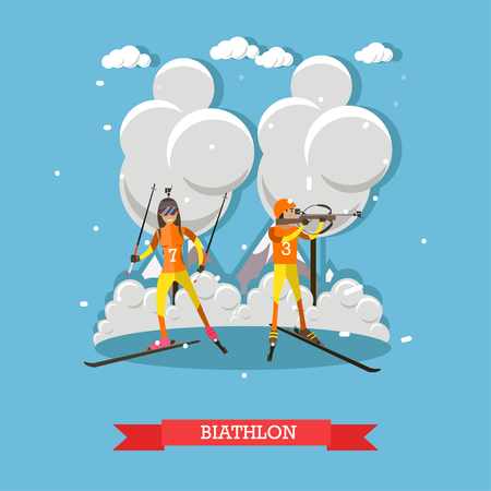 Biathlon concept vector illustration in flat style