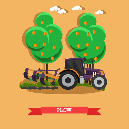 Vector illustration of tractor plowing soil. Plow, agricultural machinery concept design element in flat style. Illustration