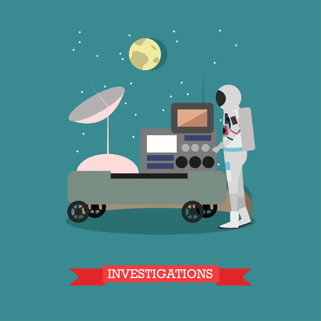 Vector illustration of astronaut standing next to space exploration equipment. Investigations concept design element in flat style. Illustration