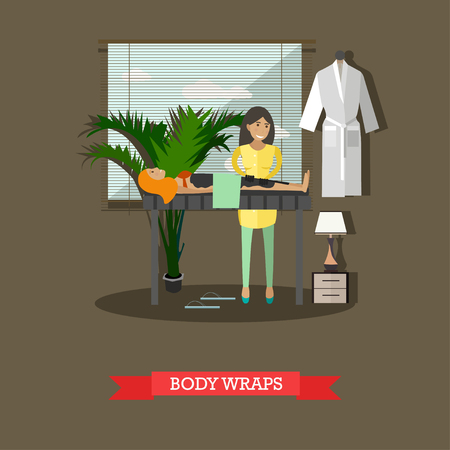 warming therapy: Spa body treatment body wraps concept vector illustration, flat style