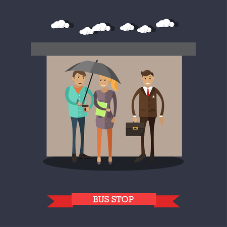 torrential: Bus stop concept vector illustration in flat style. People hiding from rainy weather at bus stop, waiting for bus. Illustration