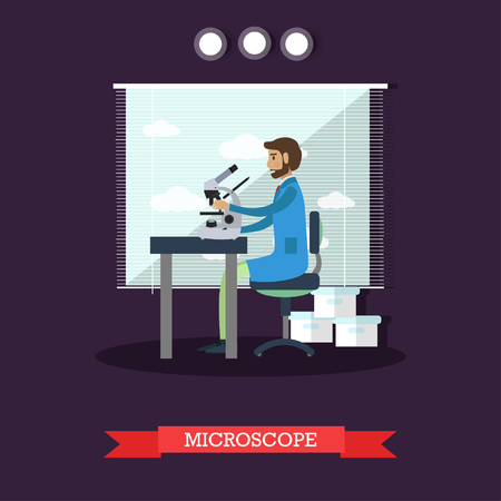 biologist: Vector illustration of scientist male looking through microscope, investigating objects. Laboratory interior and equipment design element in flat style.