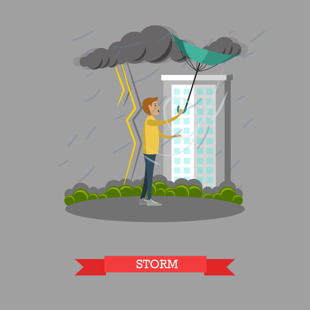 torrential: Stormy, windy and rainy weather concept vector illustration. Young man caught in heavy rain with thunderstorm and lightning, flat style design. Illustration