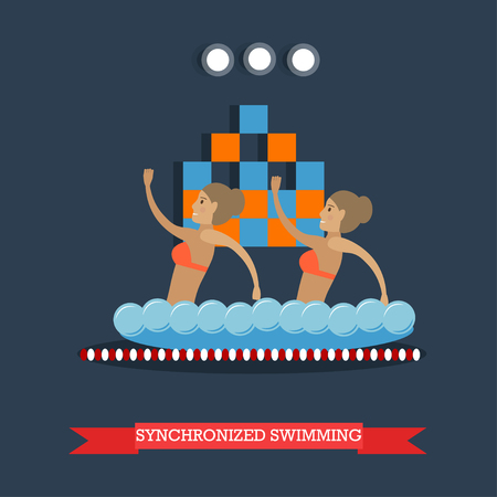 natación sincronizada: Vector illustration of swimming pool interior and two girls doing water sports. Synchronized swimming performance concept design element in flat style.