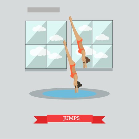 diving board: Vector illustration of swimming pool interior and sportswomen jumping into water. Diving, springboard or platform diving concept design element in flat style.