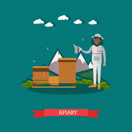 Vector flat illustration of apiarist working on apiary Illustration