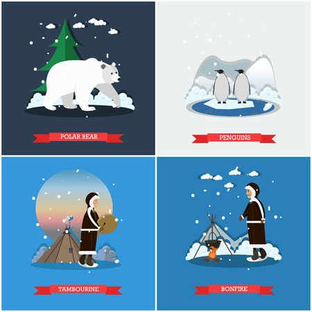 Vector set of wild north posters, banners in flat style