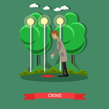 Crime scene investigation vector illustration