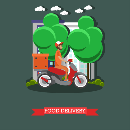 Food delivery vector illustration in flat style