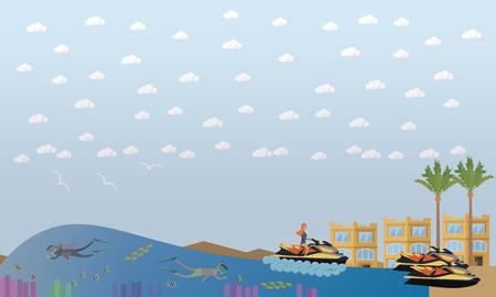 Beach vacation concept vector flat illustration
