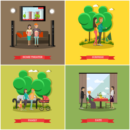 Vector set of happy loving couples posters in flat style Illustration