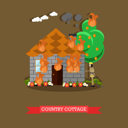 dangerous work: Country house vector illustration in flat style. Illustration