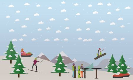 Downhill ski track vector illustration in flat style