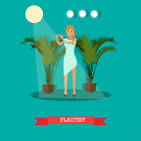 woodwind: Vector illustration of woman playing flute in flat style Illustration