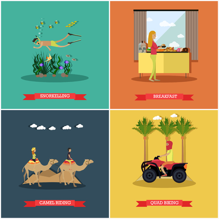 Vector set of Egypt concept posters, banners in flat style Illustration