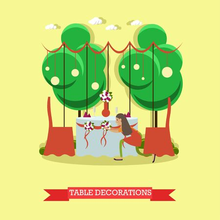Wedding table decorations vector illustration in flat style
