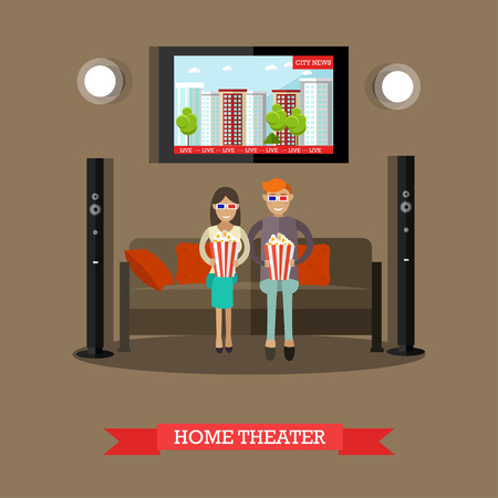 flat screen tv: Home theater vector illustration in flat style Stock Photo