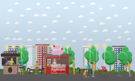 Vector flat illustration of loving couples walking in the street Stock Photo