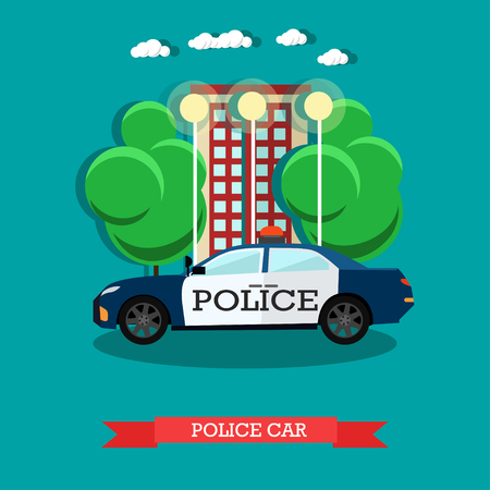 security lights: Vector illustration of police car in flat style