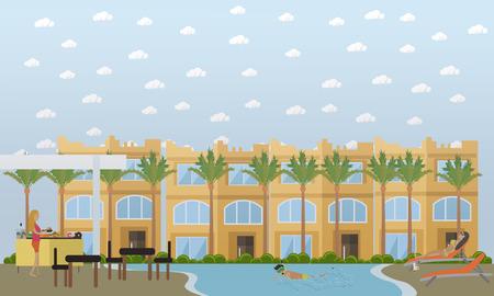 Hotel in Egypt concept vector flat style design illustration