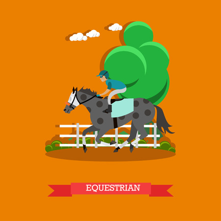 Equestrian sport vector illustration in flat style.
