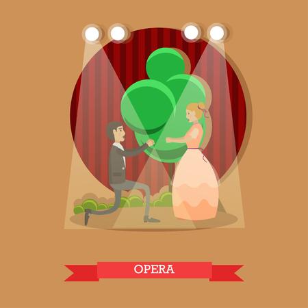sexual pleasure: Vector flat illustration of opera singers performing on stage.