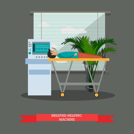 medical ventilator: Breathing machine vector illustration in flat style.