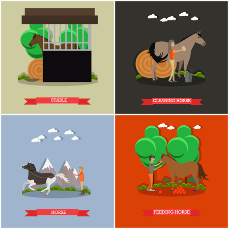 Vector set of horse riding concept posters in flat style. Illustration
