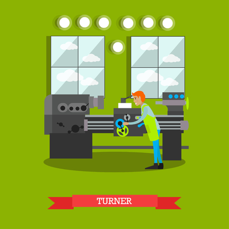 Factory turner vector illustration in flat style.