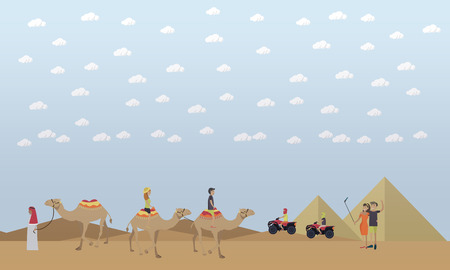 hot woman: Trip to Egypt, pyramids, riding camels concept vector flat illustration.