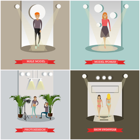 couturier: Vector set of fashion posters in flat style. Illustration