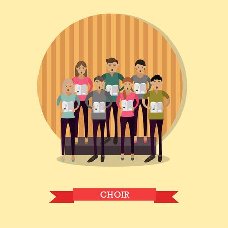Vector illustration of singing choir in flat style. Stock Illustratie