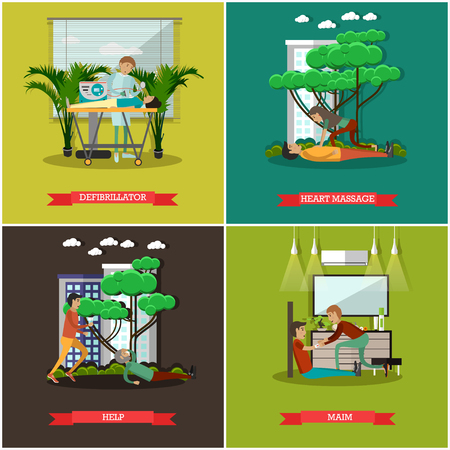 Vector set of first assistance posters in flat style Stock Photo