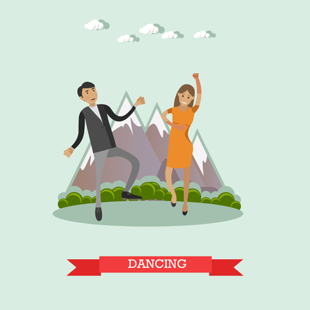 Dancing couple vector illutration in flat style