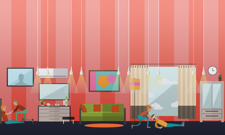 First aid at home vector illustration in flat style
