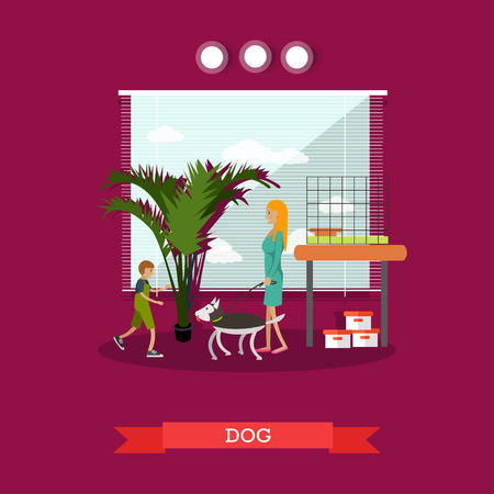 small business woman: Buying a dog vector illustration in flat style