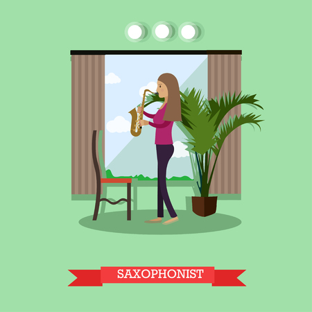 Vector illustration of woman playing saxophone in flat style
