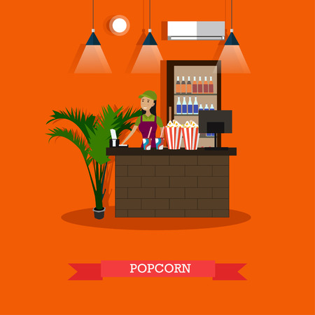 Popcorn concept vector illustration in flat style