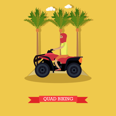 Trip to Egypt, quad biking concept vector flat illustration Illustration