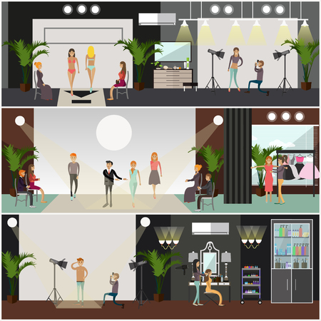 couturier: Vector set of fashion posters, banners in flat style Illustration