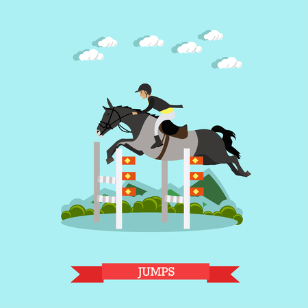 exciting: Jumps over barrier vector illustration in flat style