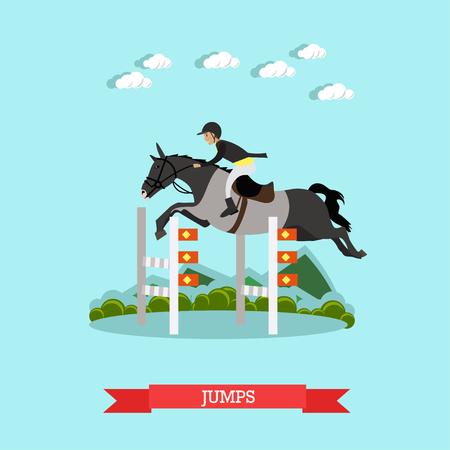 uomo a cavallo: Salta sulla barriera illustrazione vettoriale in stile piatto