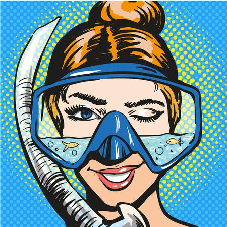 Vector pop art illustration of woman in scuba diving equipment 일러스트