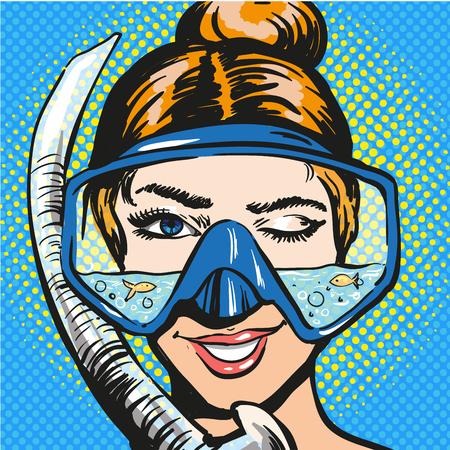 Vector pop art illustration of woman in scuba diving equipment Çizim