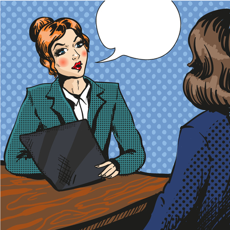 Job Interview Pop Art Vektor-Illustration Vektorgrafik