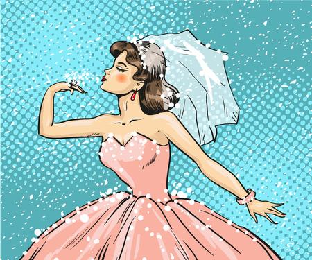Vector Pop-Art-Illustration der Braut Blick auf Ehering