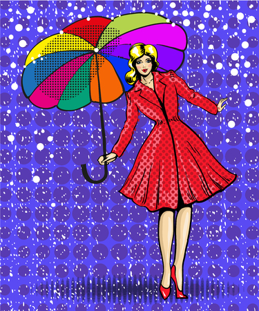 Vector pop art illustration of young beautiful woman with umbrella