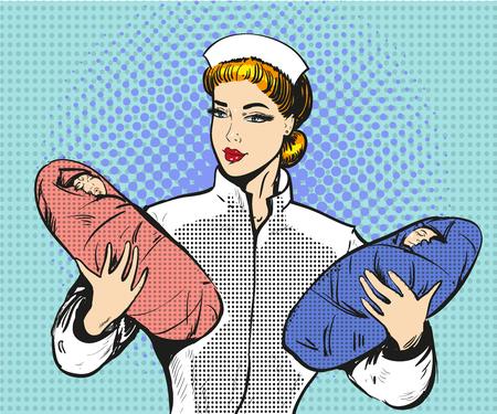 Vector pop art illustratie van moederschap verpleegster met tweelingen